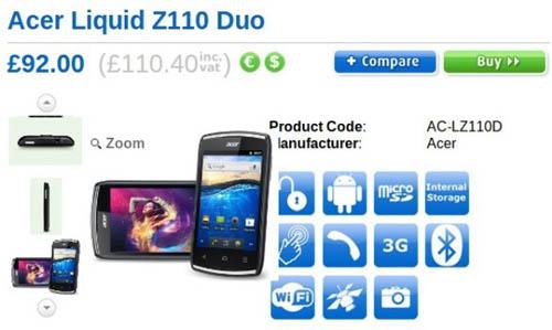 Смартфон Acer Liquid Z110 Duo